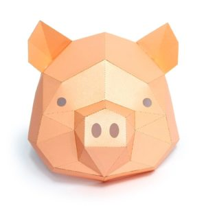 3D Paper Mask Fashion Pig Animal Costume Cosplay DIY Paper Craft Model Mask Christmas Halloween Prom 1