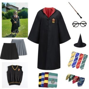 Cosplay Costume Potter Haloween Costumes Magic Robe Cape Suit Tie Scarf Sweater Hermione Skirt Wand Glasses 1