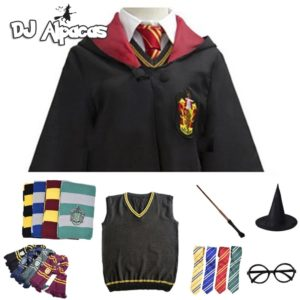 Cosplay Costume Potter Haloween Costumes Magic Robe Cape Suit Tie Scarf Sweater Hermione Skirt Wand Glasses