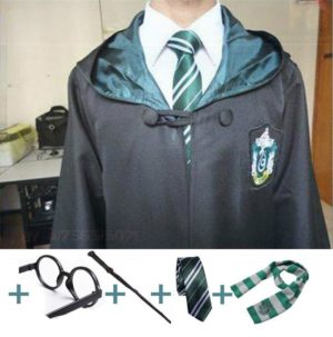 Cosplay Costumes Robe Cape with Tie Scarf Wand Glasses Cloak Harris Costume 1