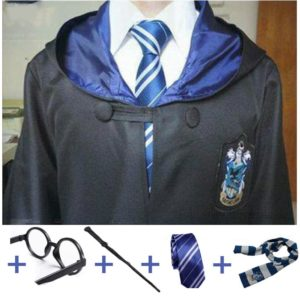 Cosplay Costumes Robe Cape with Tie Scarf Wand Glasses Cloak Harris Costume 2